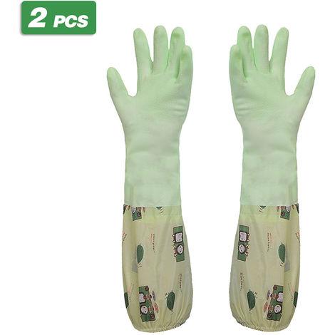Guantes de limpieza para el hogar 2 piezas, verde,Boca estrecha