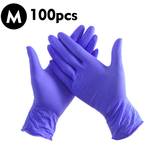 Guantes de nitrilo, 100 piezas, azul purpura, M