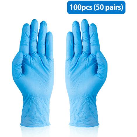 Guantes de nitrilo azul, resistentes a la corrosion y al acido, L, 50 pares