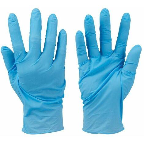 Guantes de nitrilo desechables sin polvo, 100 pzas Color azul, L 10 SILVERLINE 279250