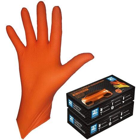 GUANTES de NITRILO DIAMANTADO naranjas - Los guantes de nitrilo MÁS RESISTENTES del mercado - SIN LÁTEX - REUTILIZABLES