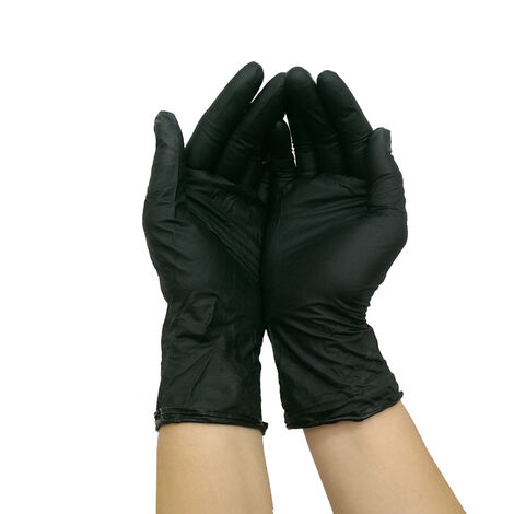 Guantes de nitrilo negro 100uds talla M
