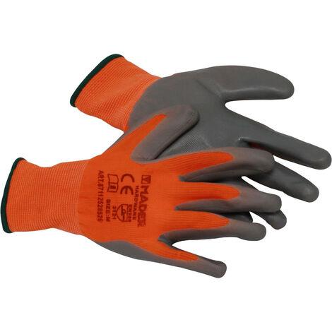 Guantes de protección naranjas poliéster y nitrilo talla L (Mader 96426)