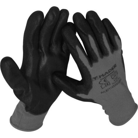Guantes de protección rojos de poliéster y poliuretano talla L (Mader 96421)