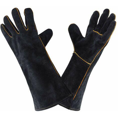Guantes de soldadura de cuero de 932 ° F, guante de soldadura de cocina de alta temperatura para trabajo, barbacoa, horno, jardinería, 40 CM
