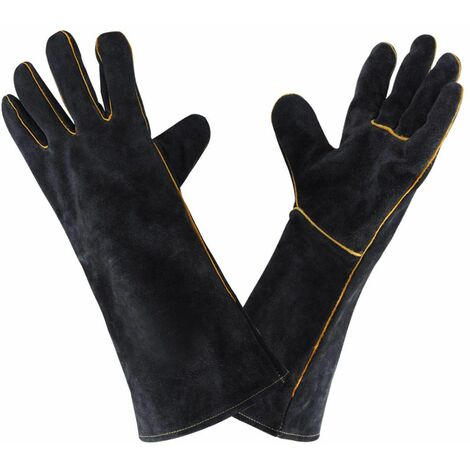 Guantes de soldadura de cuero LITZEE 932 ° F, guante de soldadura de cocina de alta temperatura de 40 CM para el horno de parrilla de trabajo horno de jardín