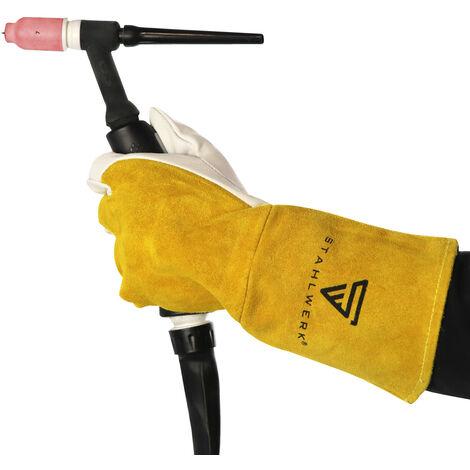 Guantes de soldadura STAHLWERK ropa de protección de cuero para TIG / TIG / MIG / MAG / MMA / Plasma, resistente al calor y al fuego, blanco-amarillo
