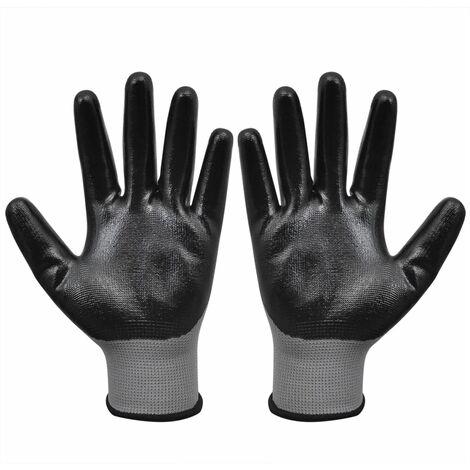 Guantes de trabajo nitrilo 1 par gris y negro talla 9/L - Gris