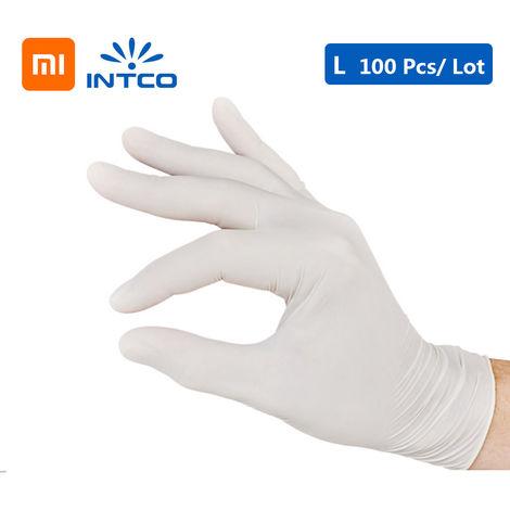 Guantes desechables de examen medico de nitrilo, blanco, L, 100PCS