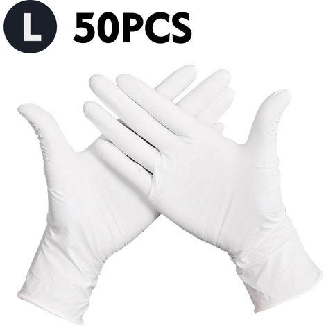 Guantes desechables, guantes de latex de goma sin polvo, 50 piezas,L,Blanco