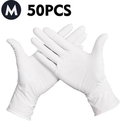 Guantes desechables, guantes de latex de goma sin polvo, 50 piezas,M,Blanco