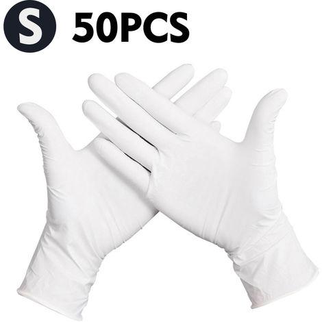 Guantes desechables, guantes de latex de goma sin polvo, 50 piezas,S,Blanco