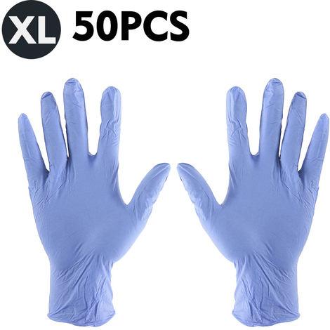 Guantes desechables, guantes de latex de goma sin polvo, 50 piezas,XL,Purpura