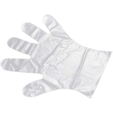 Guantes desechables, guantes de PE, transparentes, 50 piezas