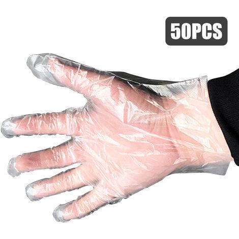 Guantes desechables, guantes de plastico de higiene sin latex, 50 piezas