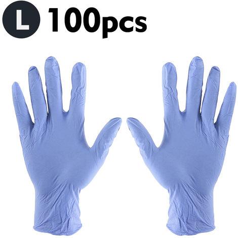 Guantes desechables, guantes elasticos de latex de goma sin polvo, 100 piezas, L