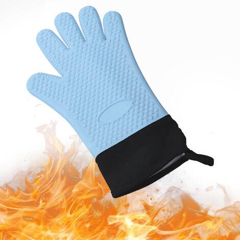 Guantes para barbacoa Caliente guantes resistentes a la parrilla con aislamiento mitones del horno guantes antideslizantes de silicona resistente al agua para que cocinan la Fumador Chimenea, Azul