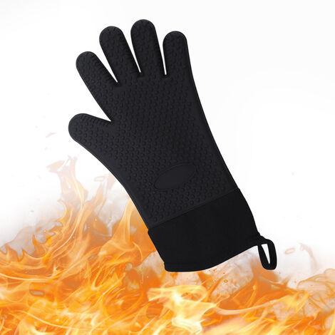 Guantes para barbacoa Caliente guantes resistentes a la parrilla con aislamiento mitones del horno guantes antideslizantes de silicona resistente al agua para que cocinan la Fumador Chimenea, Negro