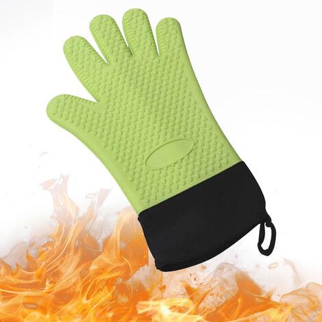 Guantes para barbacoa Caliente guantes resistentes a la parrilla con aislamiento mitones del horno guantes antideslizantes de silicona resistente al agua para que cocinan la Fumador Chimenea, Verde