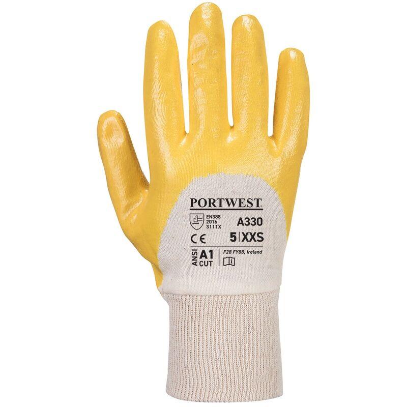 autentico acquista per genuino sconto più votato Guanti gialli rivestiti in nitrile con polso in maglia