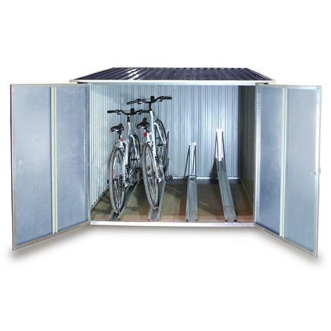 Guarda bicicletas de metal para guardar hasta 4 grandes bicicletas.