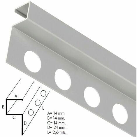 Guardacantos Aluminio Cuadrado Brillo Barra 2,6 Metros