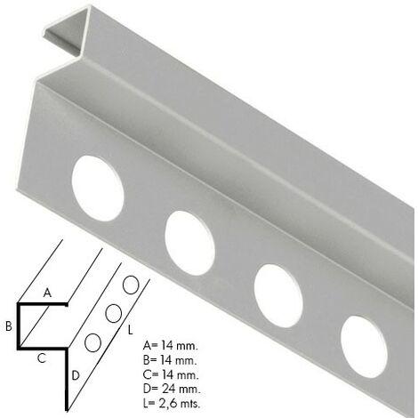 Guardacantos metal cuadrado brillo barra 2,6 metros