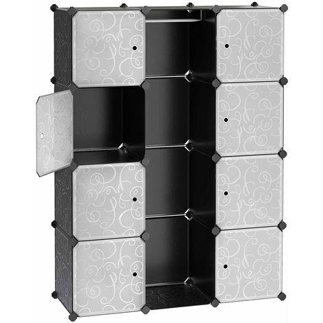 SONGMICS Guardaroba Modulare Armadietto Scaffale a 6 Ripiani 2 Righe con Scompartimenti Cubi Mobiletto Traslucido 83 x 31 x 105 cm LPC26W