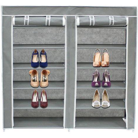 Guardarropa, Armario, 2 puertas, Armario de zapatos, 114 x 110 x 28 cm, Gris, Peso: 3 kg