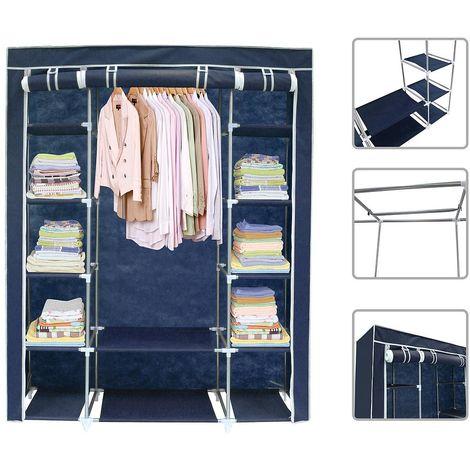 Guardarropa, Armario, 3 puertas, 172 x 134 x 43 cm, Azul, Peso: 3 kg