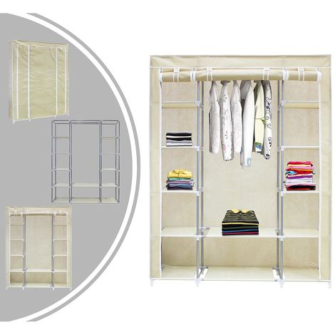 Guardarropa, Armario, 3 puertas, 172 x 134 x 43 cm, Beige, Peso: 3 kg