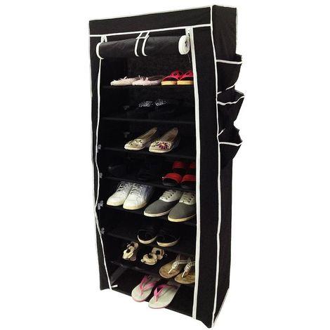 Guardarropa, Armario, Armario para zapatos, 6 bolsillos laterales, 160 x 58 x 28 cm, Negro, Peso: 3 kg