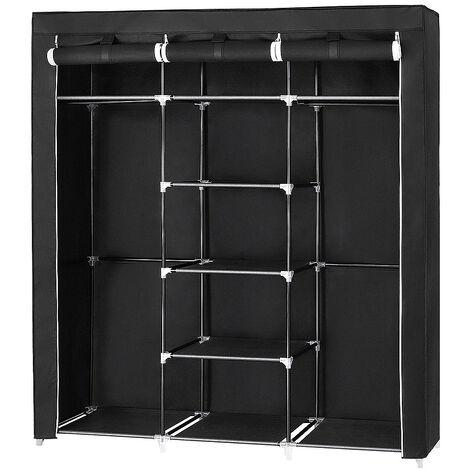Guardarropa  compartimentos y varillas   3 puertas 175x150x45cm Negro  material:tela