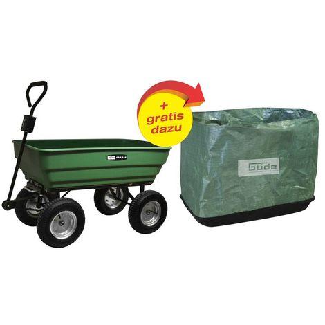 Güde GGW300 chariot de jardin basculant 4 roues 75 L 250 kg - bâche incluse