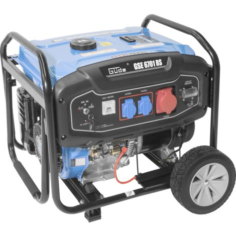 GÜDE GSE 6701 RS - Generador 5000W (5500W max) con mango y ruedas para transporte. AVR y arranque eléctrico