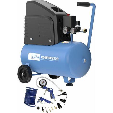 Güde Kompressor-Set 220-8-24 13-teilig 8 bar, 24 l, 220 l/min, 1,5 kW, ölfreier 1-Zylinder
