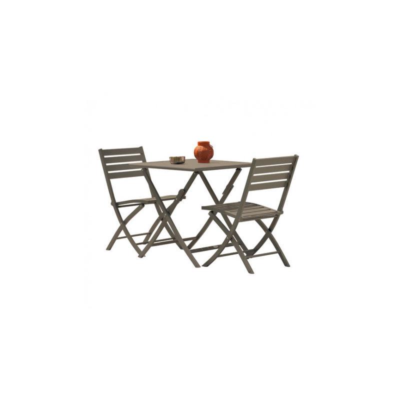 Guéridon pliant MARIUS 70X70 cm en aluminium + 2 chaises pliantes