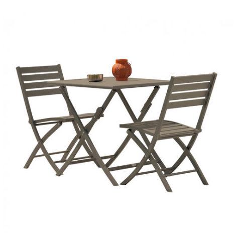 Guéridon pliant MARIUS 70X70 cm en aluminium + 2 chaises pliantes ...