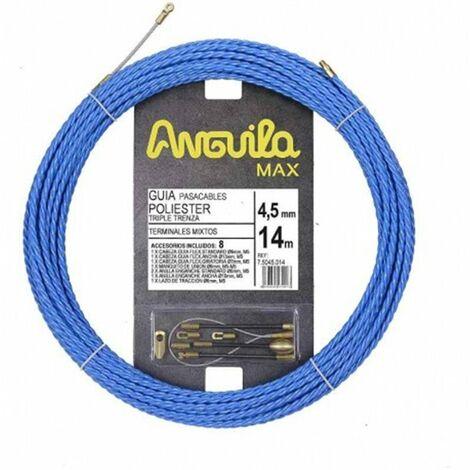 Guia Pasacables Anguila 75045014 MAX 4,5mm Triple.Trenzado.14mt Azul
