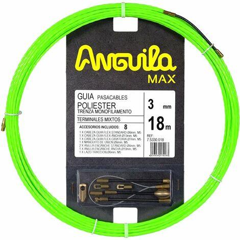 Guia Pasacables Anguila 75330018 MAX 3mm Triple Trenzado.18mt Verde