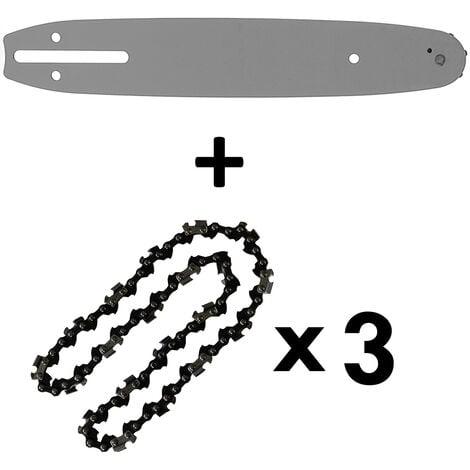 Guide 10 pouces (26 cm) avec lot de 3 chaînes 40 maillons pour tronçonneuse élagueuse 25 cm3