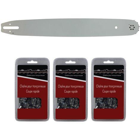 Guide 50 cm (20 pouces) + lot de 3 chaînes 72 maillons - Compatible tronçonneuses STIHL MS 291, 311 et 391