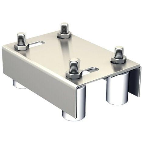 Guide extensible double pour portail de 10 à 60 mm, 4 olives Ø40 mm