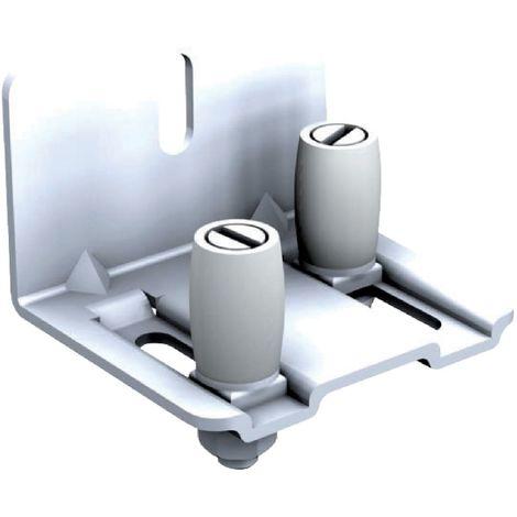 Guide réglable à 2 olives nylon sur platine acier zingué MANTION pour rail - Blanc 1125x18 - 1128A