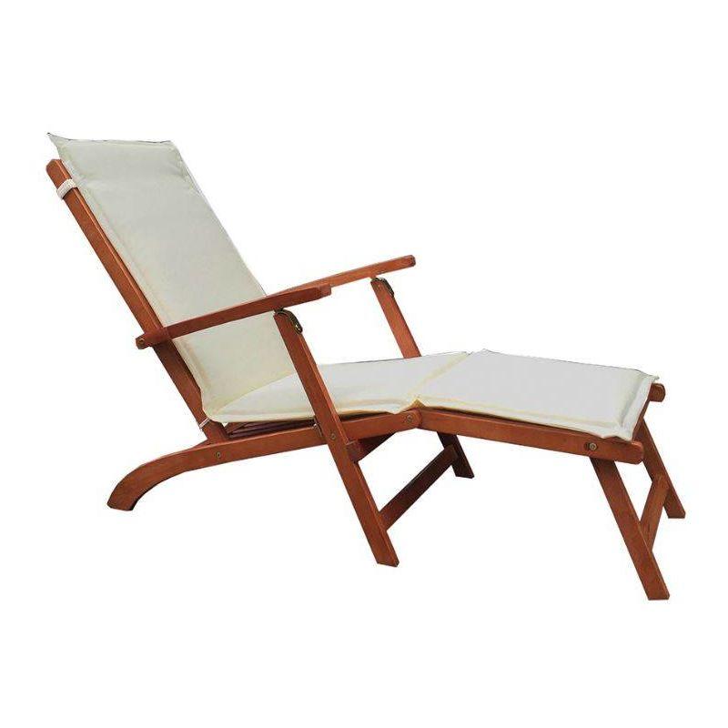 Chaise longue avec structure en bois   Ecru