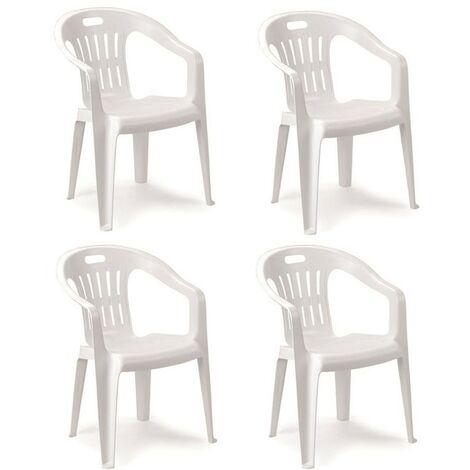 Sedie E Tavoli Plastica Economici.Guidetti Set 4 Sedie Monoblocco In Plastica Bianco Gu Sedia Mono