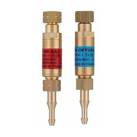 Guilbert Express - Anti-retours flamme pour détendeurs Oxygène / Acétylène avec 4 colliers serrage - TNT