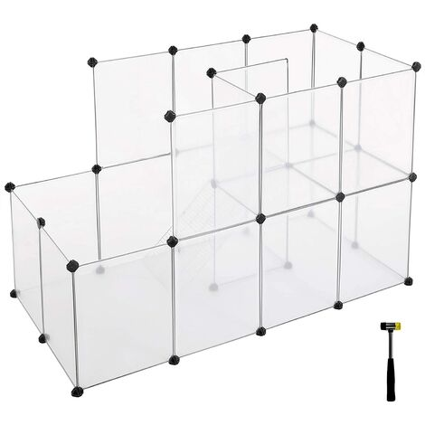 Guinea Pig Playpen with Dense Ramp, Indoor Rabbit Run Hutch Cage, Large Exercise Enclosure with Stairs, DIY Plastic Modular Fence for Hamster, Pet, Small Animals, Transparent LPC03W
