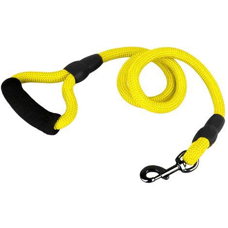 Guinzaglio a corda nylon 280120 cani taglia media 120 cm con moschettone nero