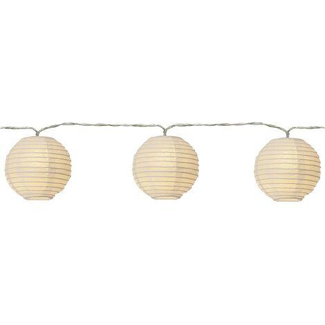 Guirlande 10 lanternes blanche en papier LED
